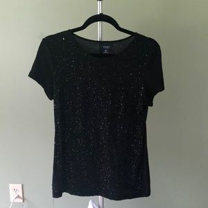 Black sequin cap sleeved t-shirt
